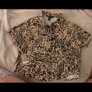 Forever 21 animal print button up